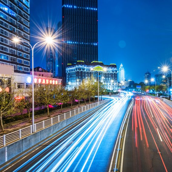 traffic light trails of Tianjin