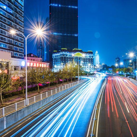 traffic light trails of Tianjin
